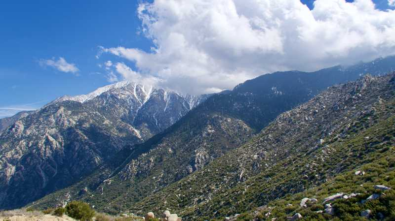 View of San Jacinto Mountain with clouds