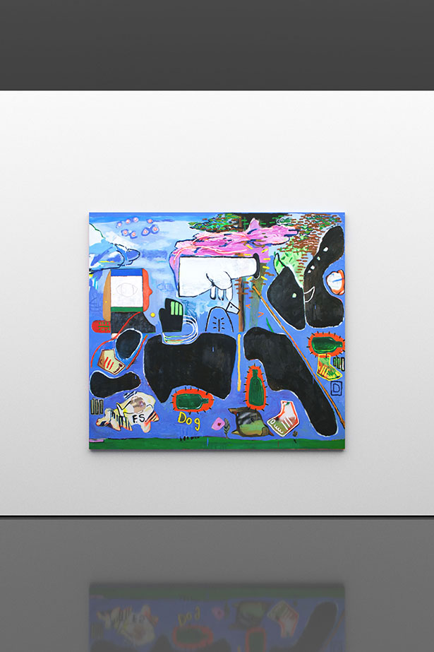Bacchus and Ariadne, 2016                oil, spray and paper on canvas                176.5 × 191 cm