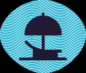 Chezlong with an umbrella.