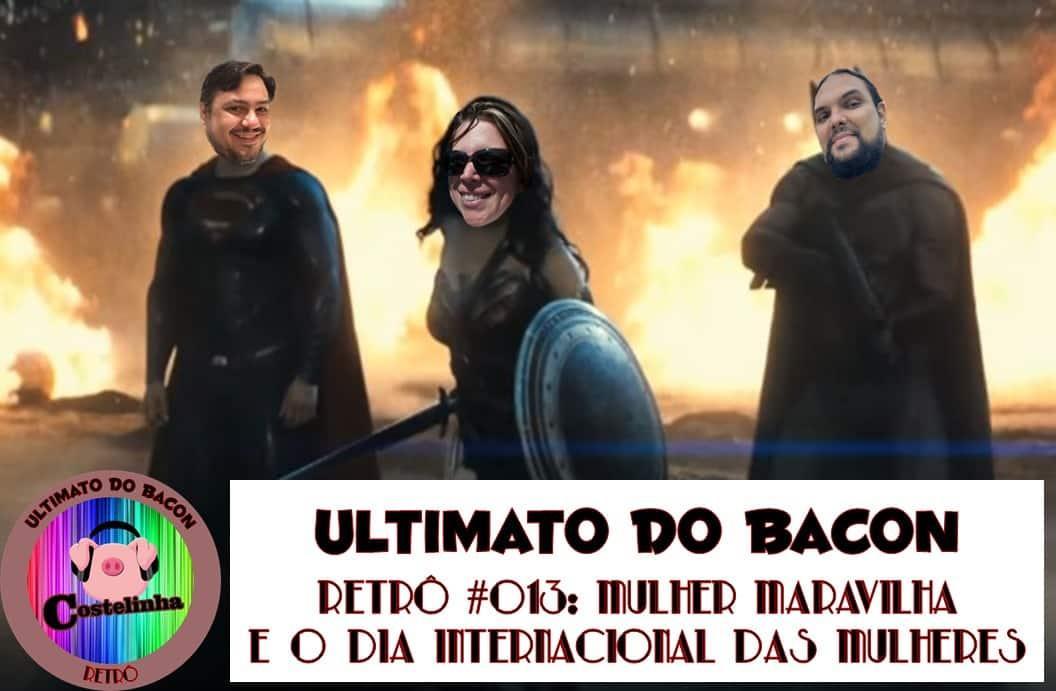 Integrantes do Ultimato do Bacon vestidos como Batman Superman Mulher-Maravilha