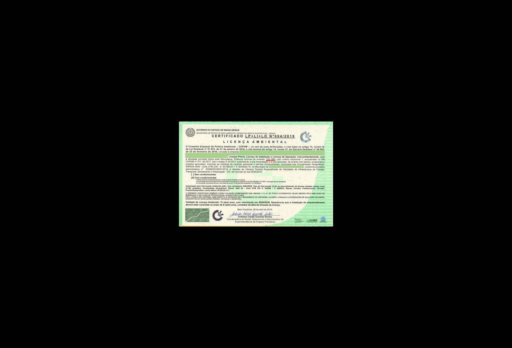 Licença de 530 MW