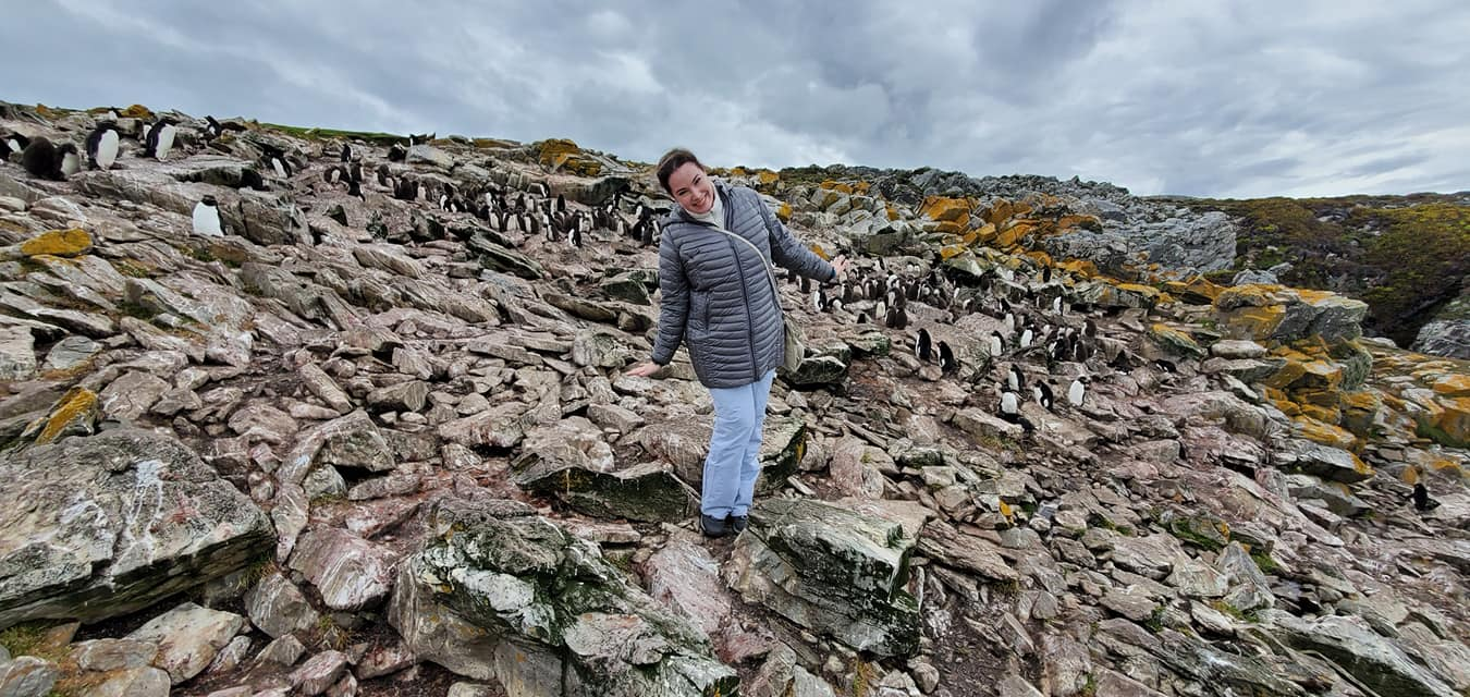 Heather with Rockhopper Penguins