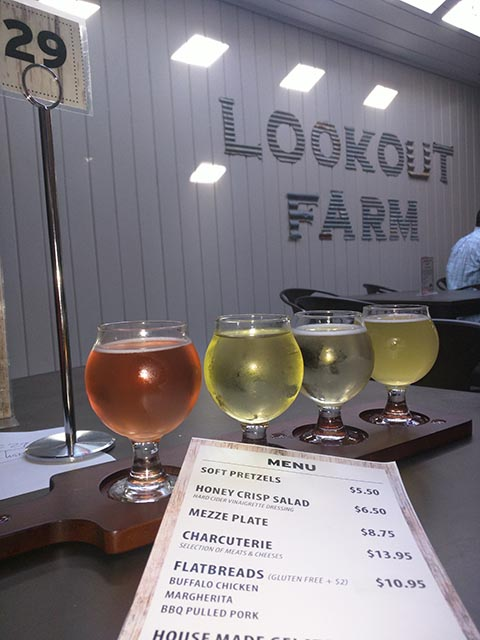 A flight of cider from Lookout Farm Cider Company
