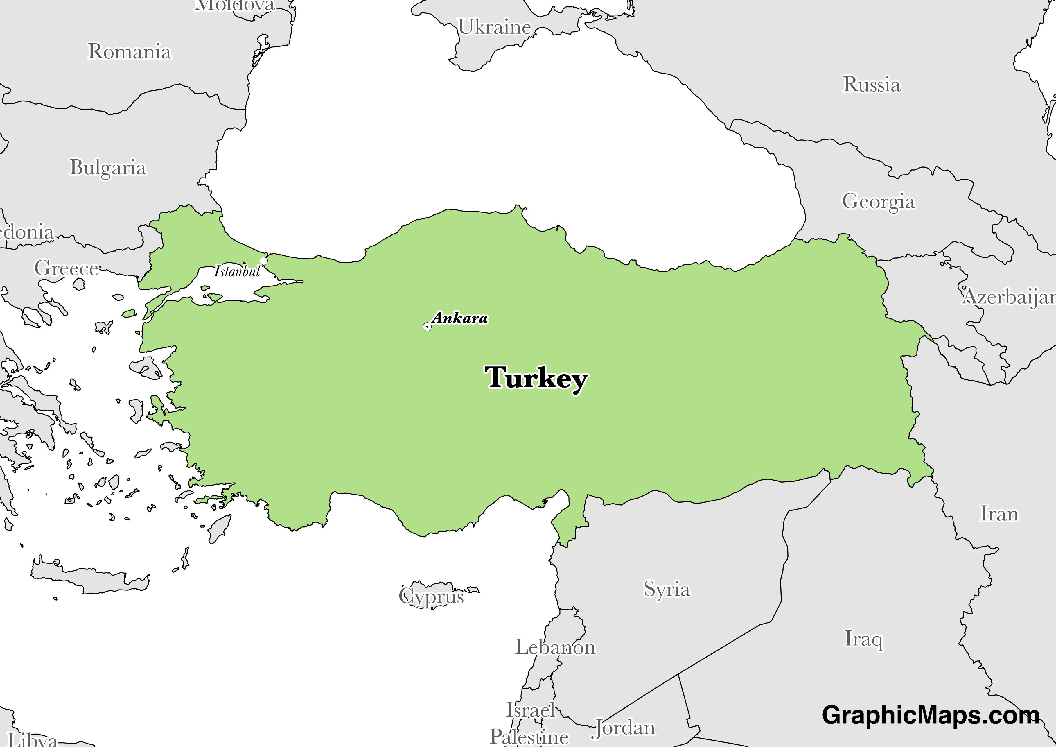 Map showing the location of Turkey