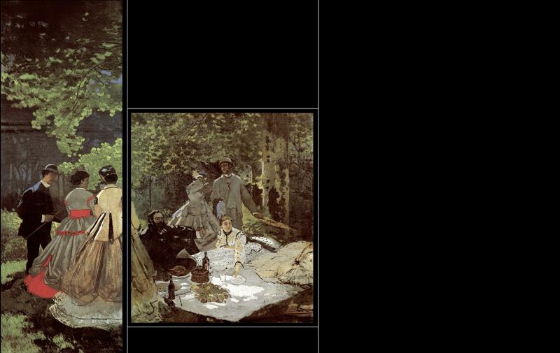 Приблизительный вид картины «Завтрак натраве»: левый исредний уцелевшие фрагменты всравнении сутраченными частями полотна