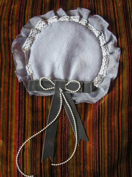 Custom made lilac and pearl cap (price on request)