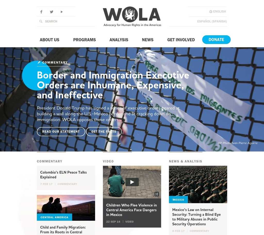 A screenshot of WOLA's newly designed website homepage