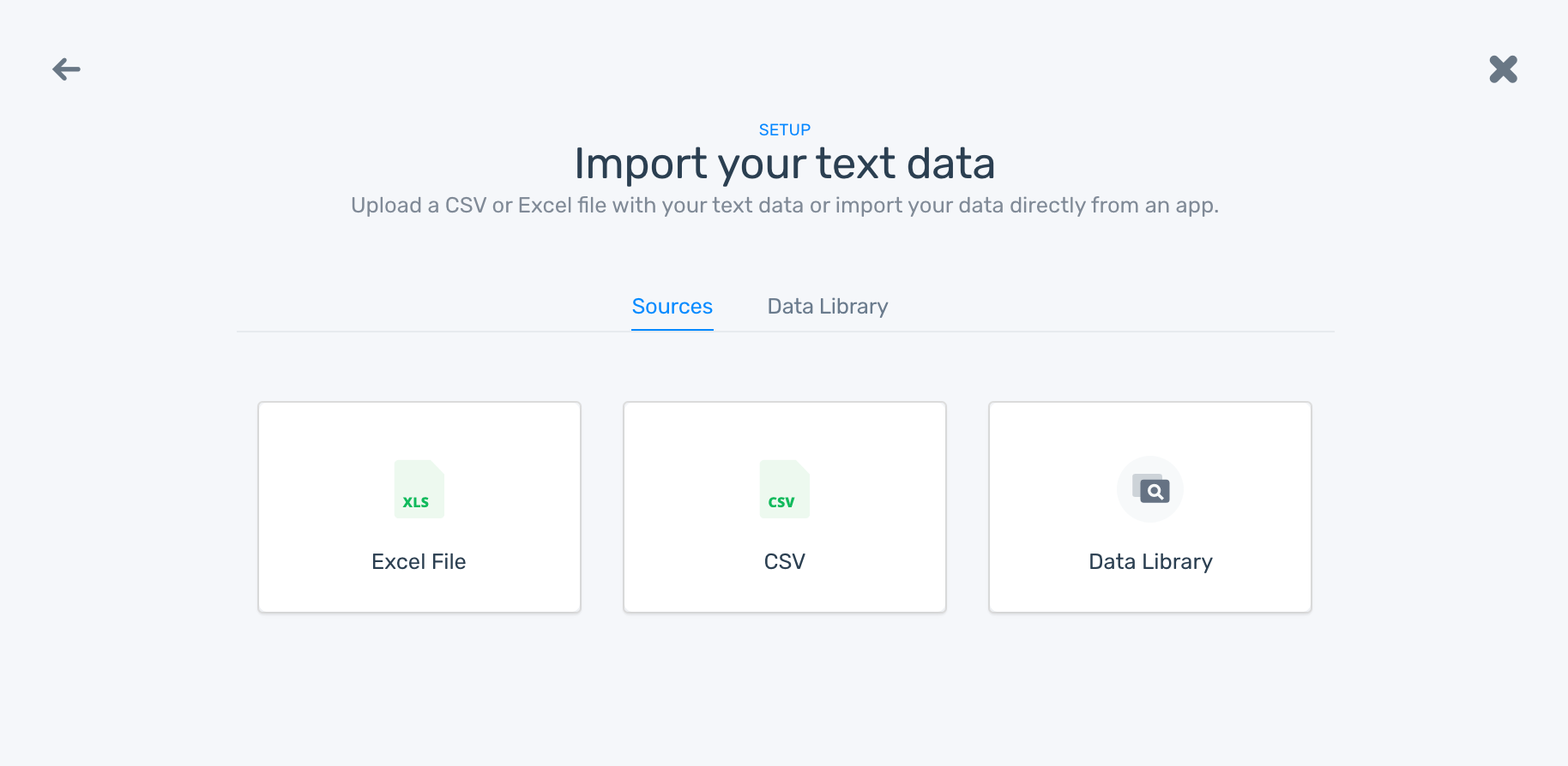 The option to choose CSV or Excel to upload your Twitter data. Or, use data from the data library
