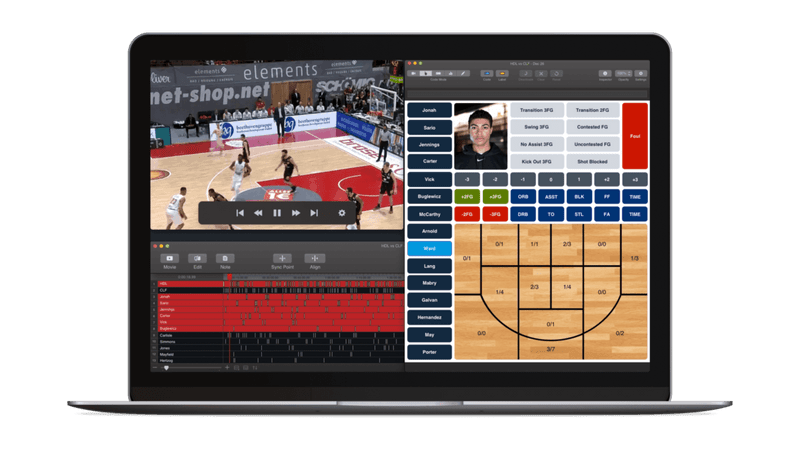 Hudl Sportscode Basketball code dashboard