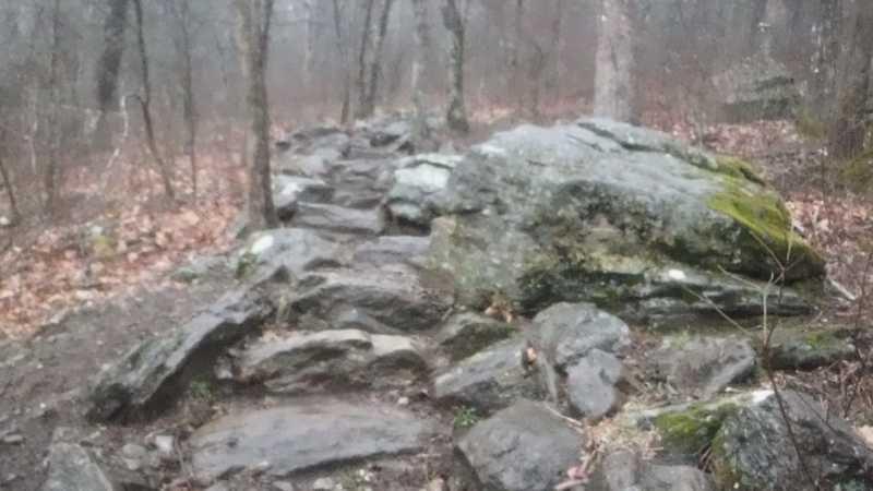 Wet climb up Blood Mountain
