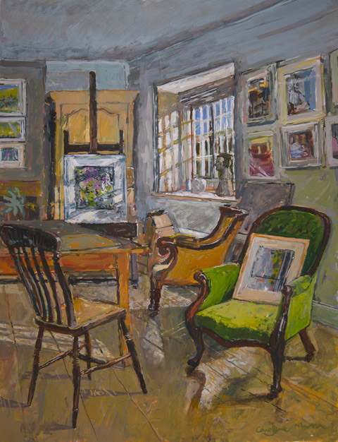 Studio Interior with Green Chair gouache painting