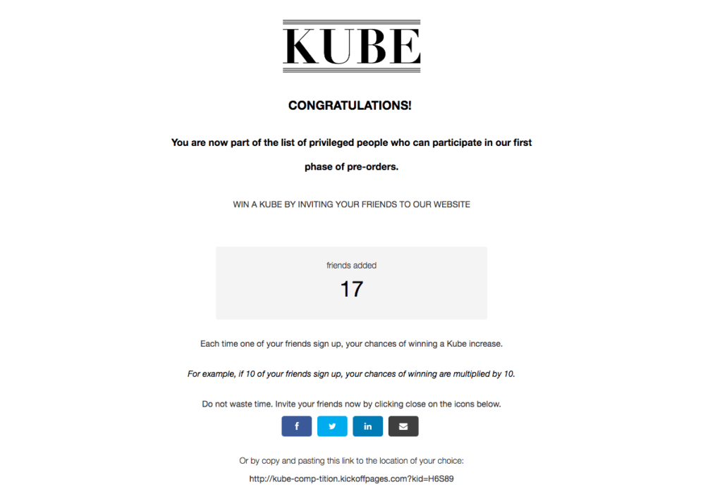 Kube thank you page