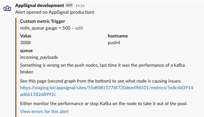 Screenshot AppSignal improved alert in Slack