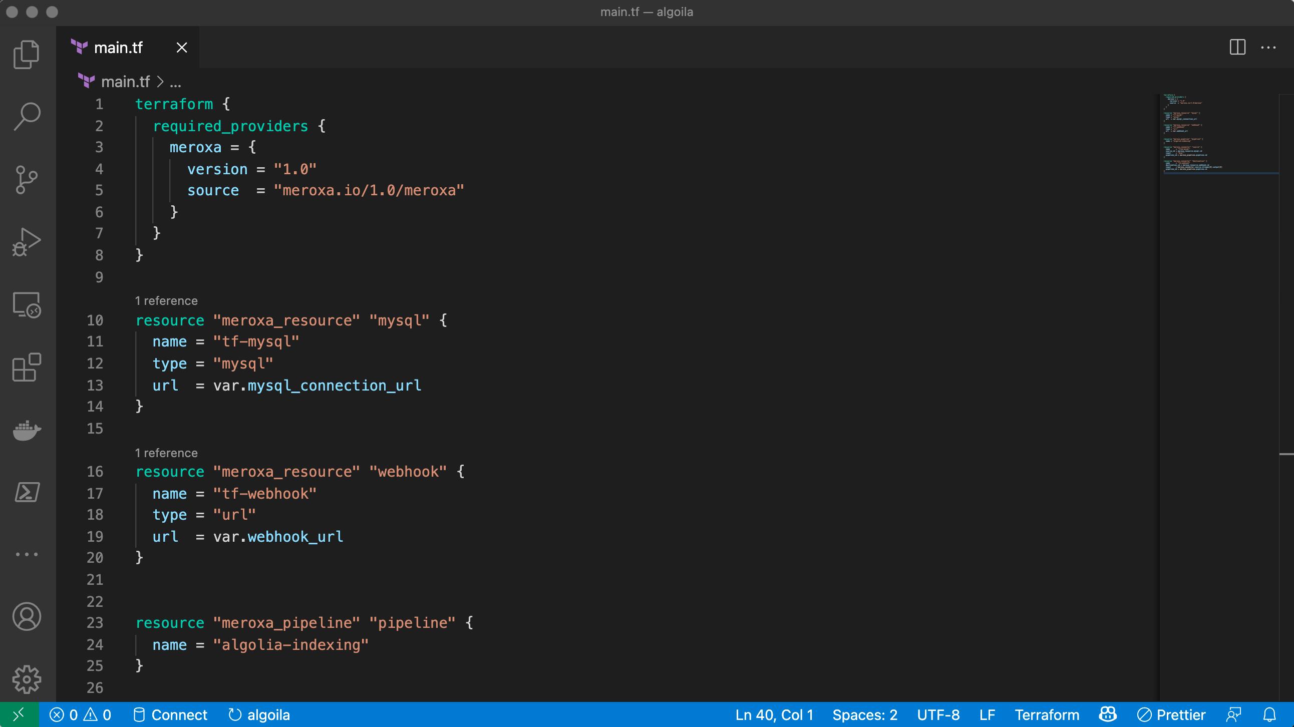 Meroxa Terraform Provider in VSCode