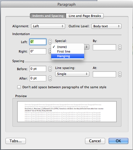 how to set up apa style on mac