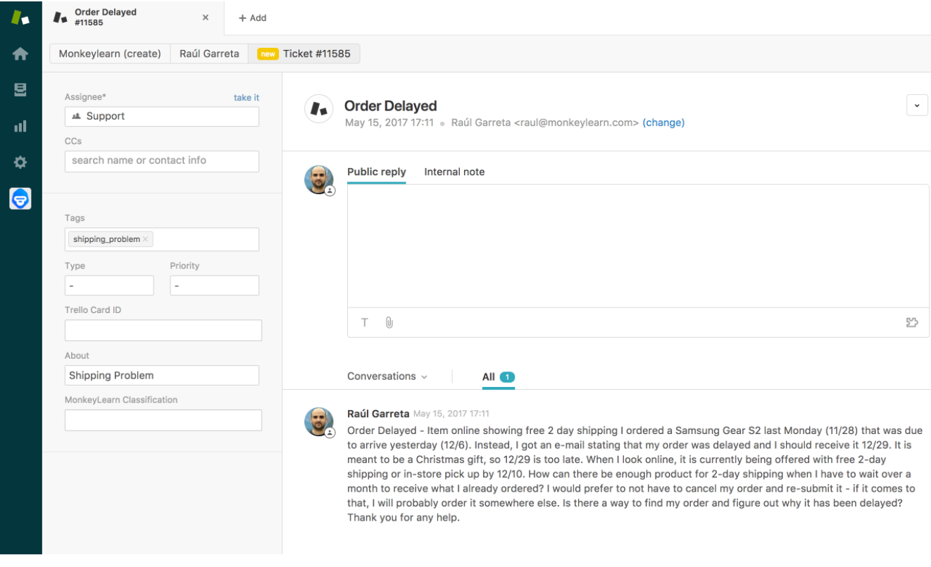 MonkeyLearn analyzing and tagging a ticket with the topic 'Shipping Problem' in Zendesk.