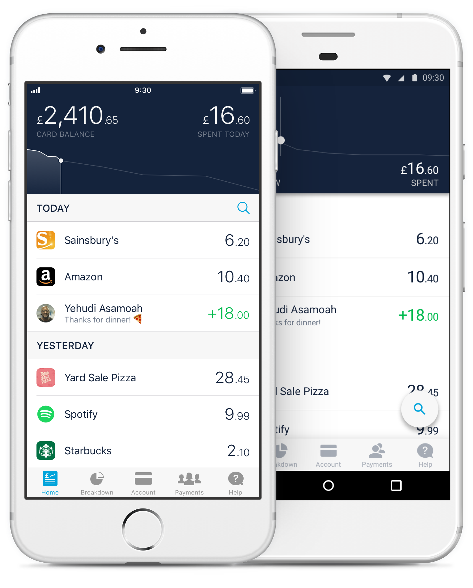 Image of the Monzo spending feed on iOS and Android