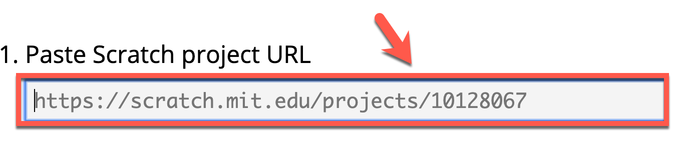 "Screenshot of a text box labeled ""Paste Scratch project URL"""