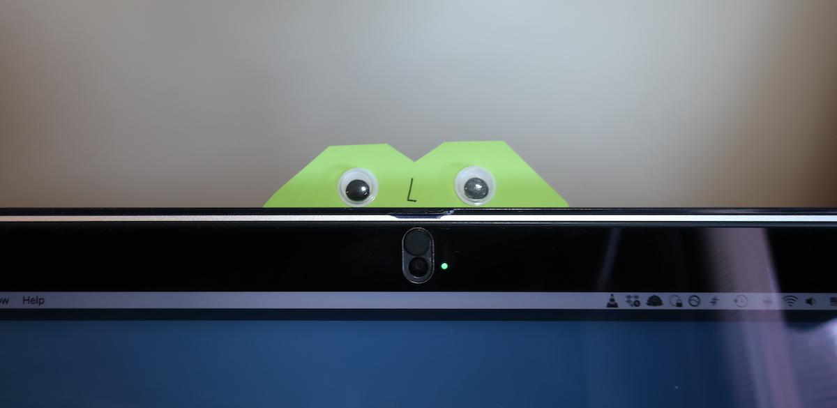 Sticky note monster with googly eyes on my webcam
