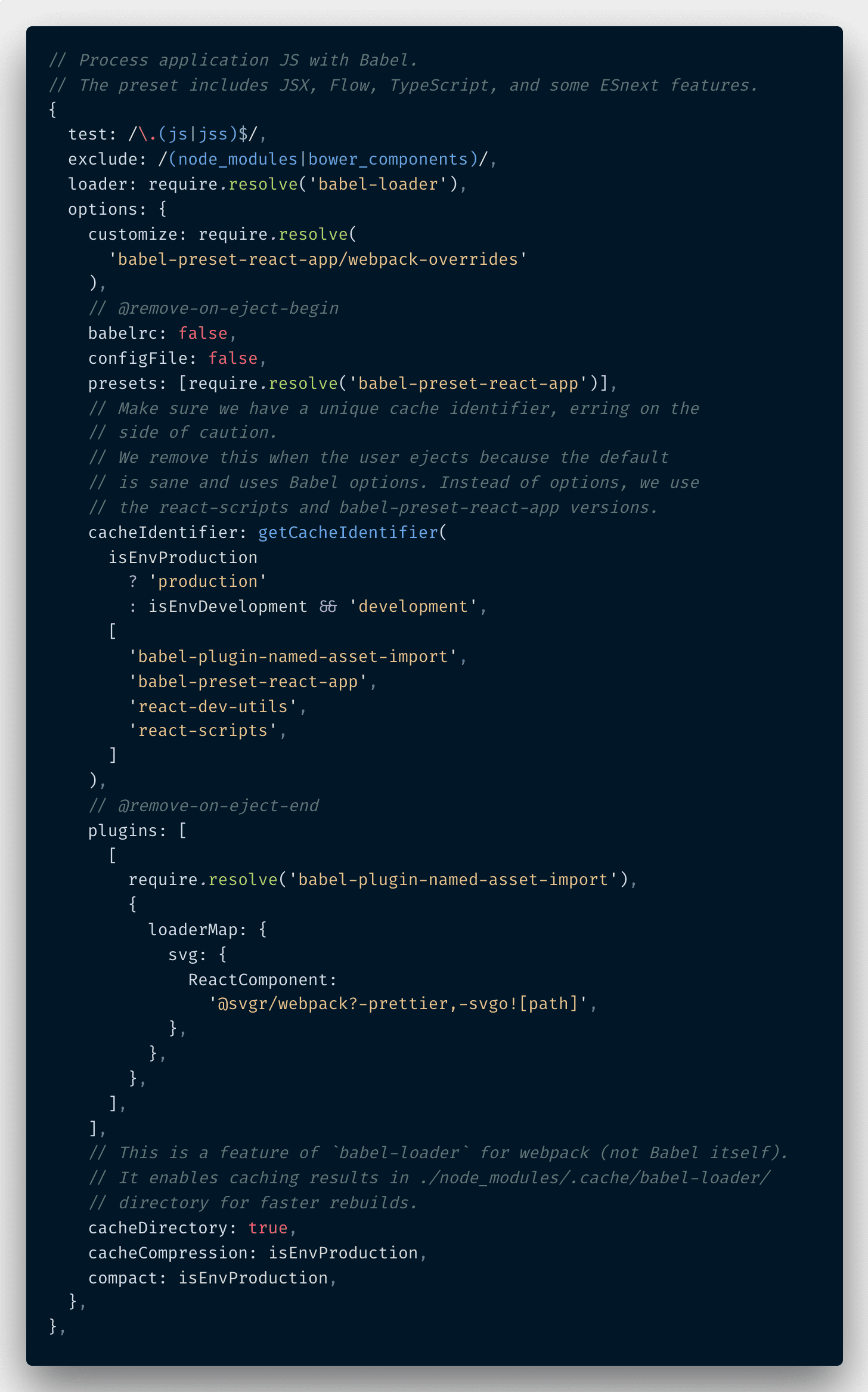 Webpack dev config babel screenshot
