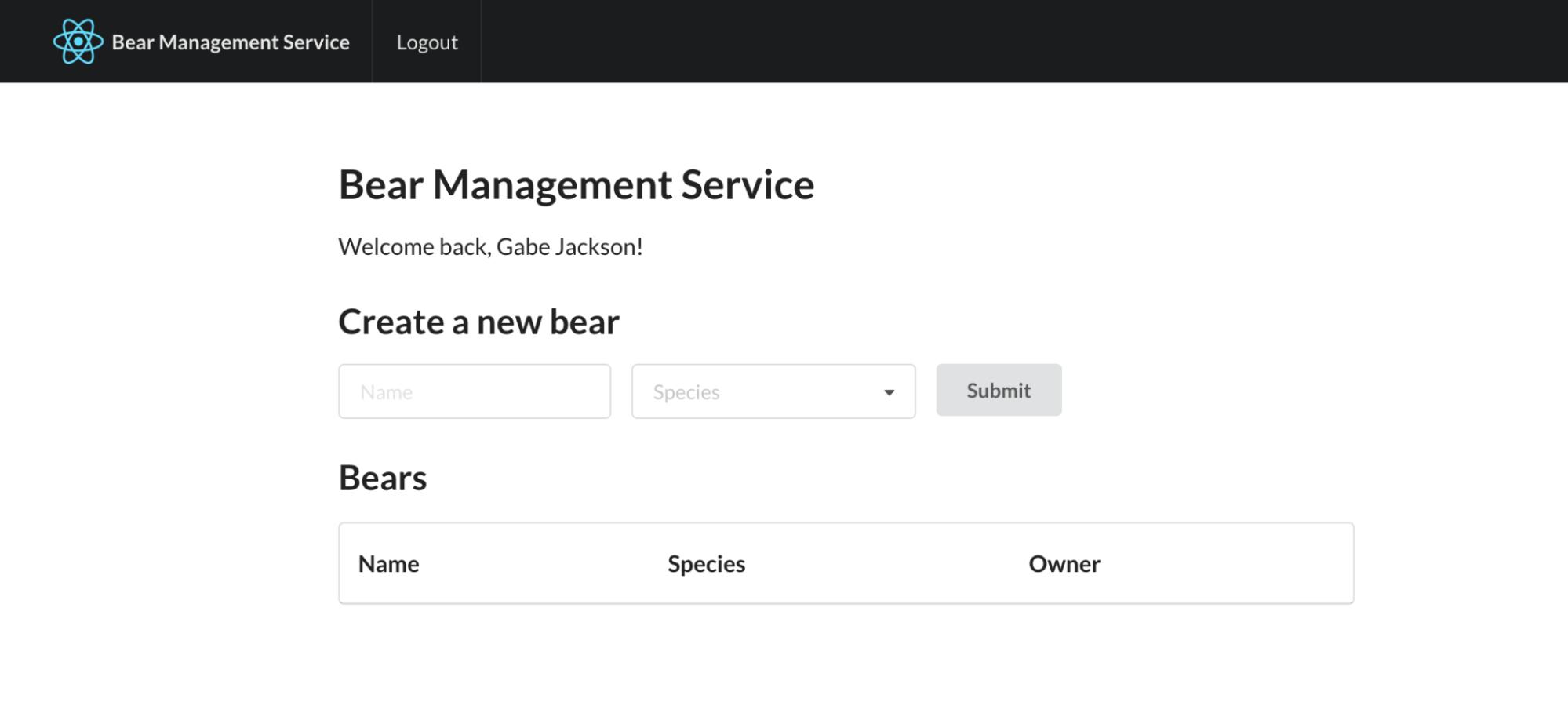 Bear Management Service
