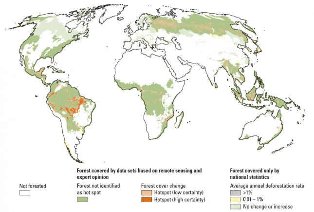 World Map of Forest Cover Change – World Development Report (2008)0