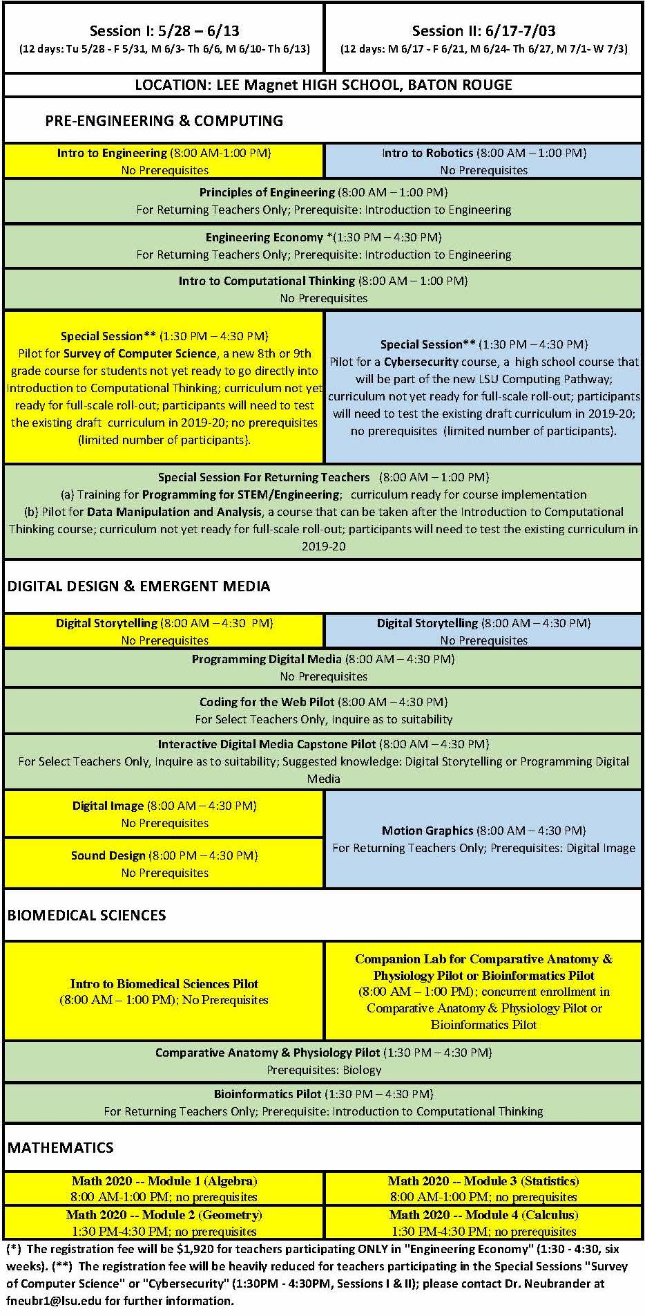 summer institute schedule 1
