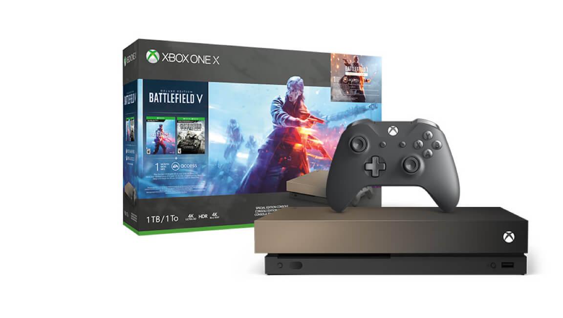 Xbox One X 1TB<br/>Gold Rush Special Edition Battlefield V + Battlefield 1 & 1943 Paketi
