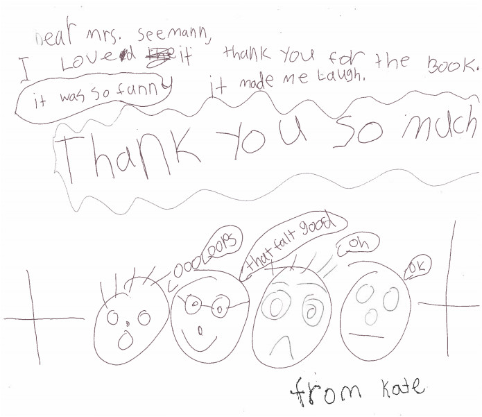 review by Kate, children's drawing of four family members reacting to the book with a postive note of thanks