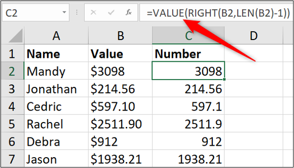 """An Excel spreadsheet containing three columns of data: name, value, number. The first cell in the """"number"""" column has been highlighted and the """"VALUE"""" formula entered into the formula bar."""
