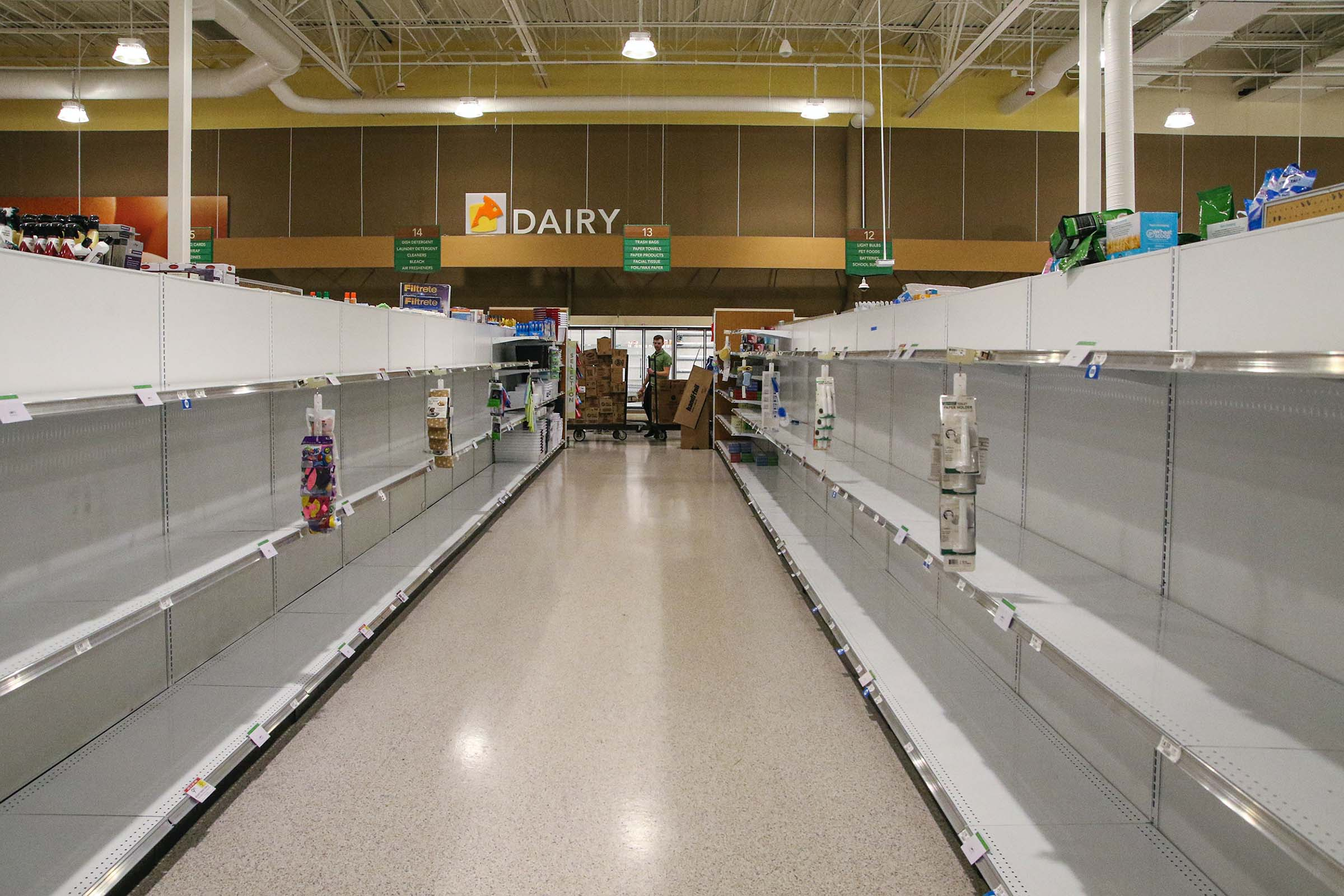 Empty shelves at store during COVID-19