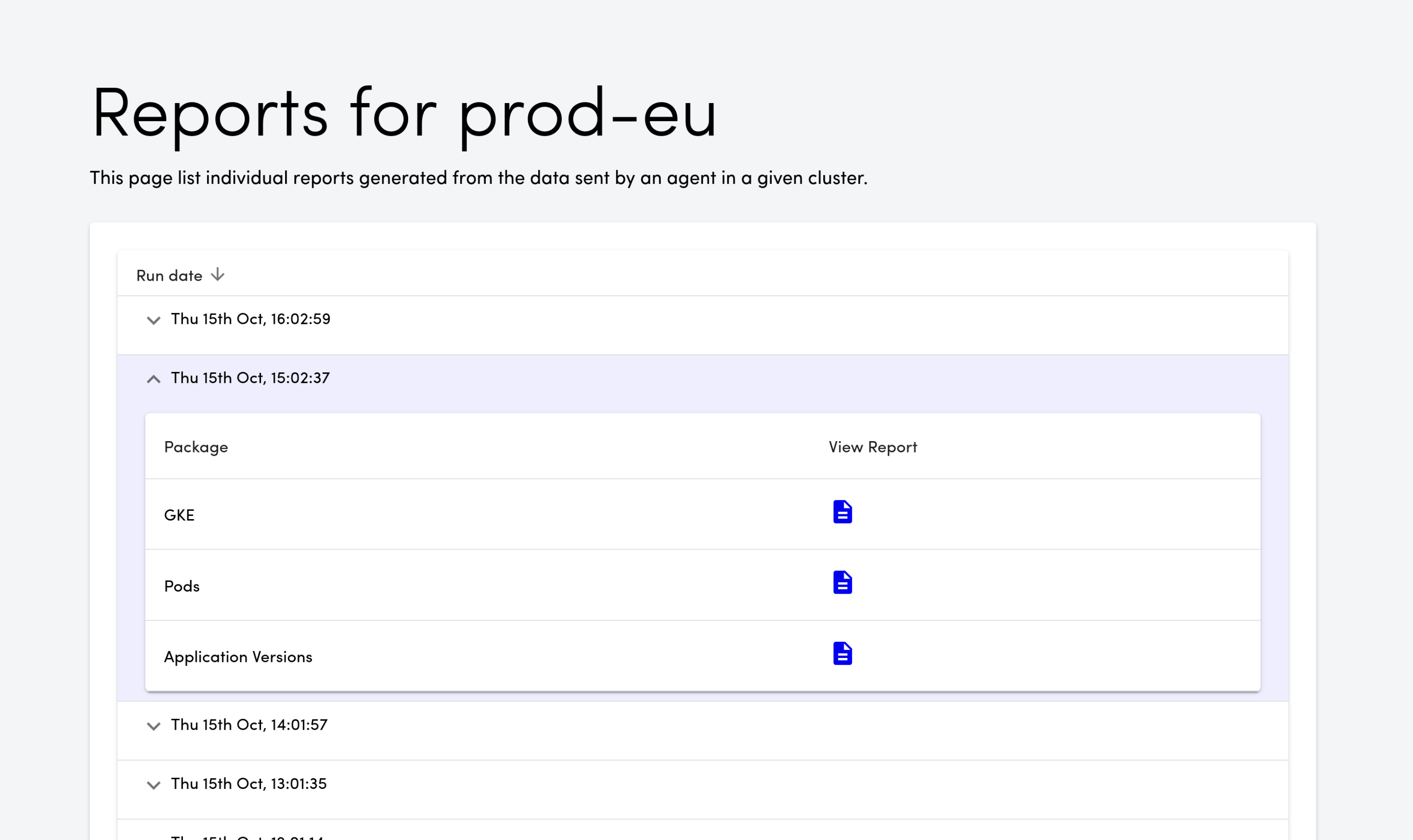 Screenshot of the history of Preflight reports for a single cluster