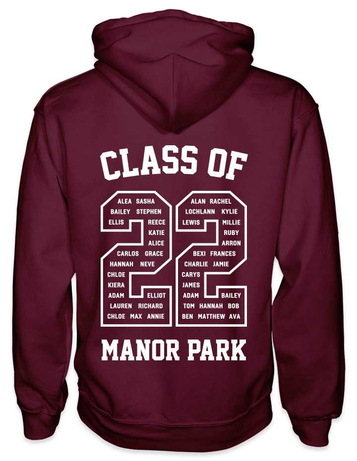 leavers hoodies classic varsity design with class of printed across shoulders, names in a number 22, school name printed at the bottom