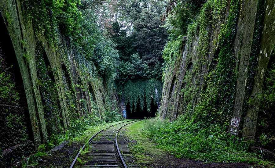 Train tracks leading into tunnel