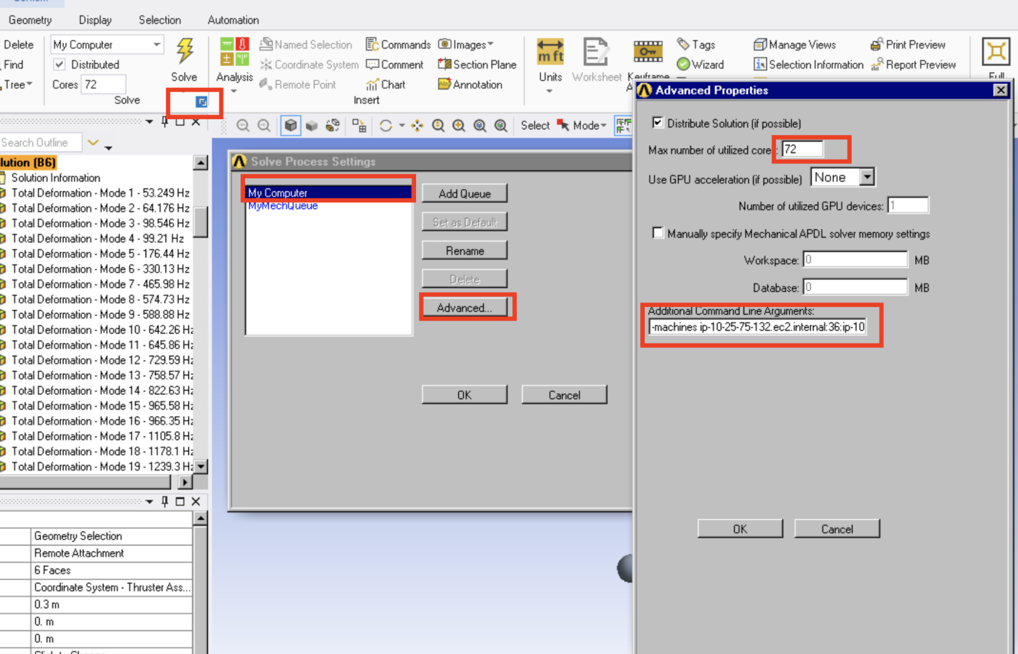 ANSYS Mechanical Multiple Nodes Settings
