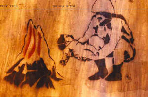 """A stencil of an army officer throwing a baby in a fire, symbolizes the demise of future generations if the Supreme Council of the Armed Forces (SCAF) continues to rule Egypt. It's also a response to the propaganda banners widely circulated by the armed forces showing an army officer holding a baby accompained with a sentence reading, """"The army and people are one hand."""" The stencil was created in July 2011."""