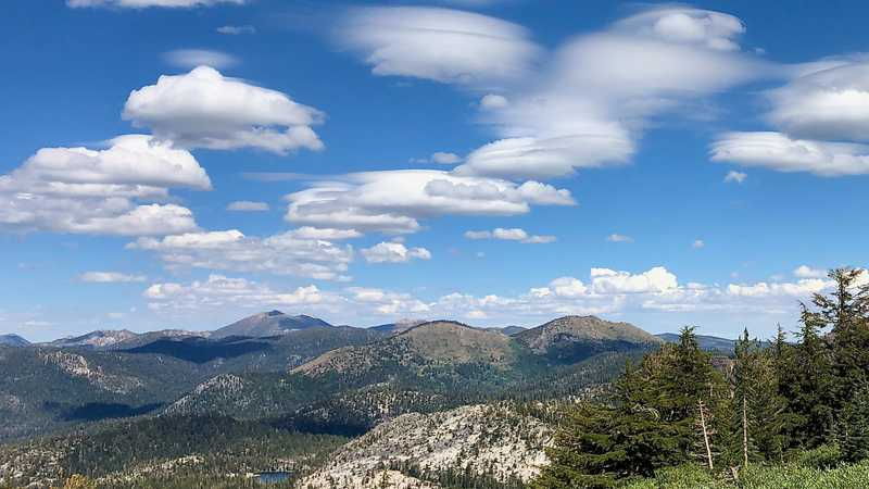 Fluffy clouds above the Sierra Nevada