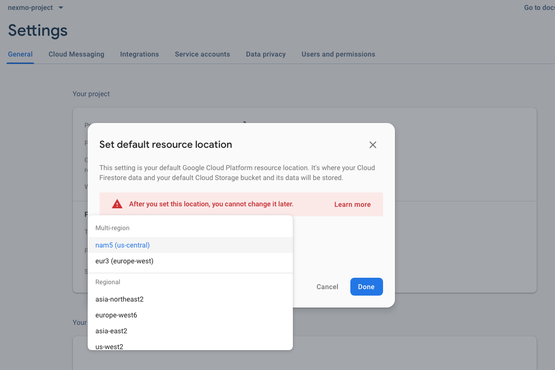 Setting a resource location in the resource location dialog