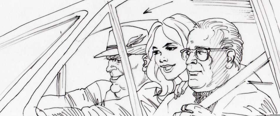 The Hot Potato, rough storyboard, car chase scene