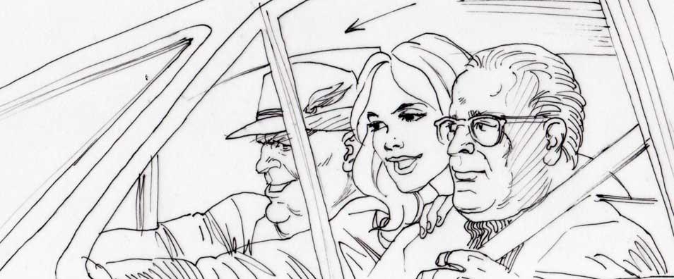 The Hot Potato, rough storyboard, car chase scene