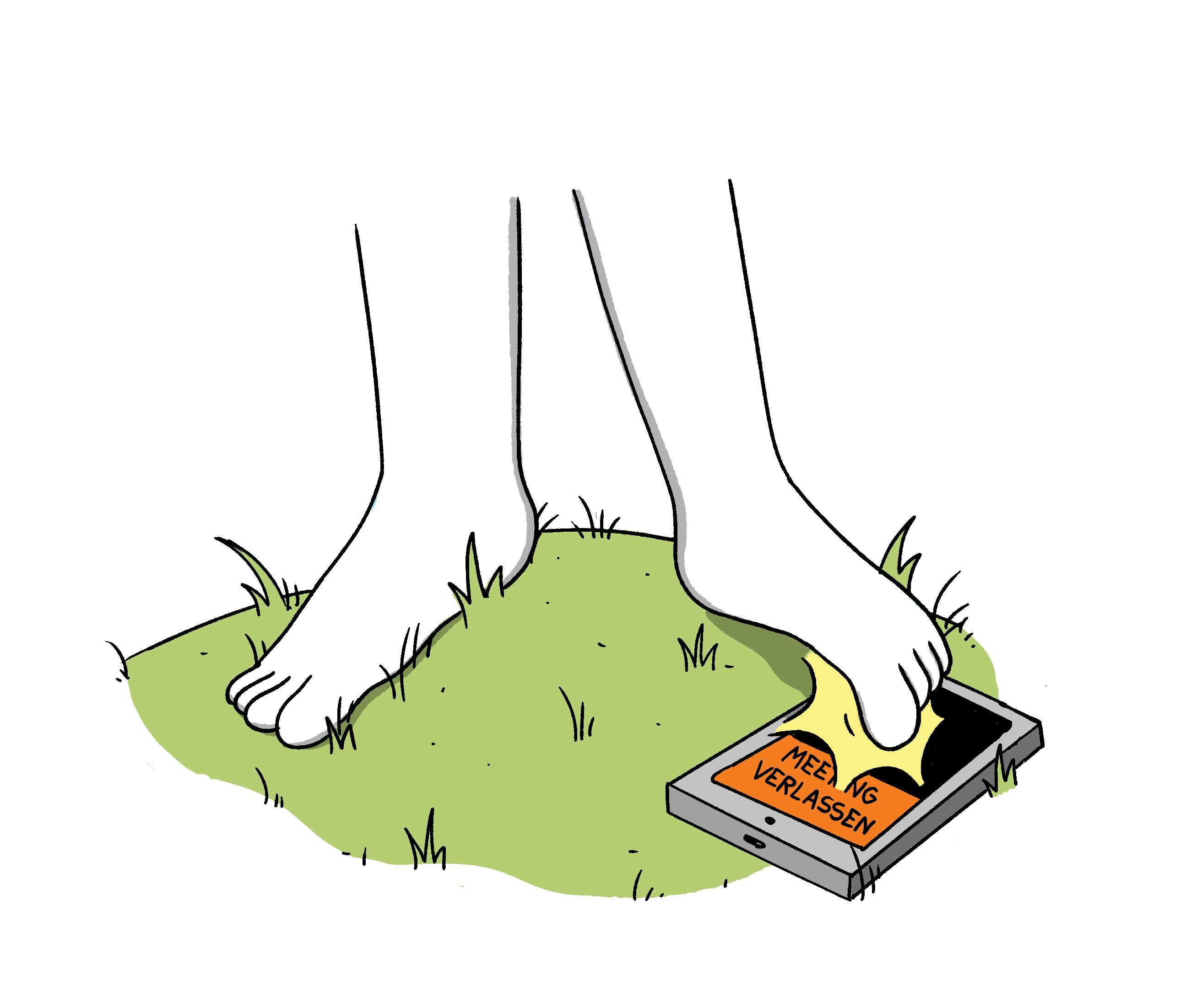 Mit Füßen im Gras laufen