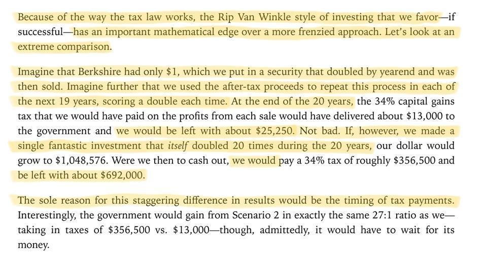 Tax Deferred Compounding na carta da Berkshire Hathaway de 1989. Retirado de https://twitter.com/10kdiver/status/1396125692081836039/photo/1.