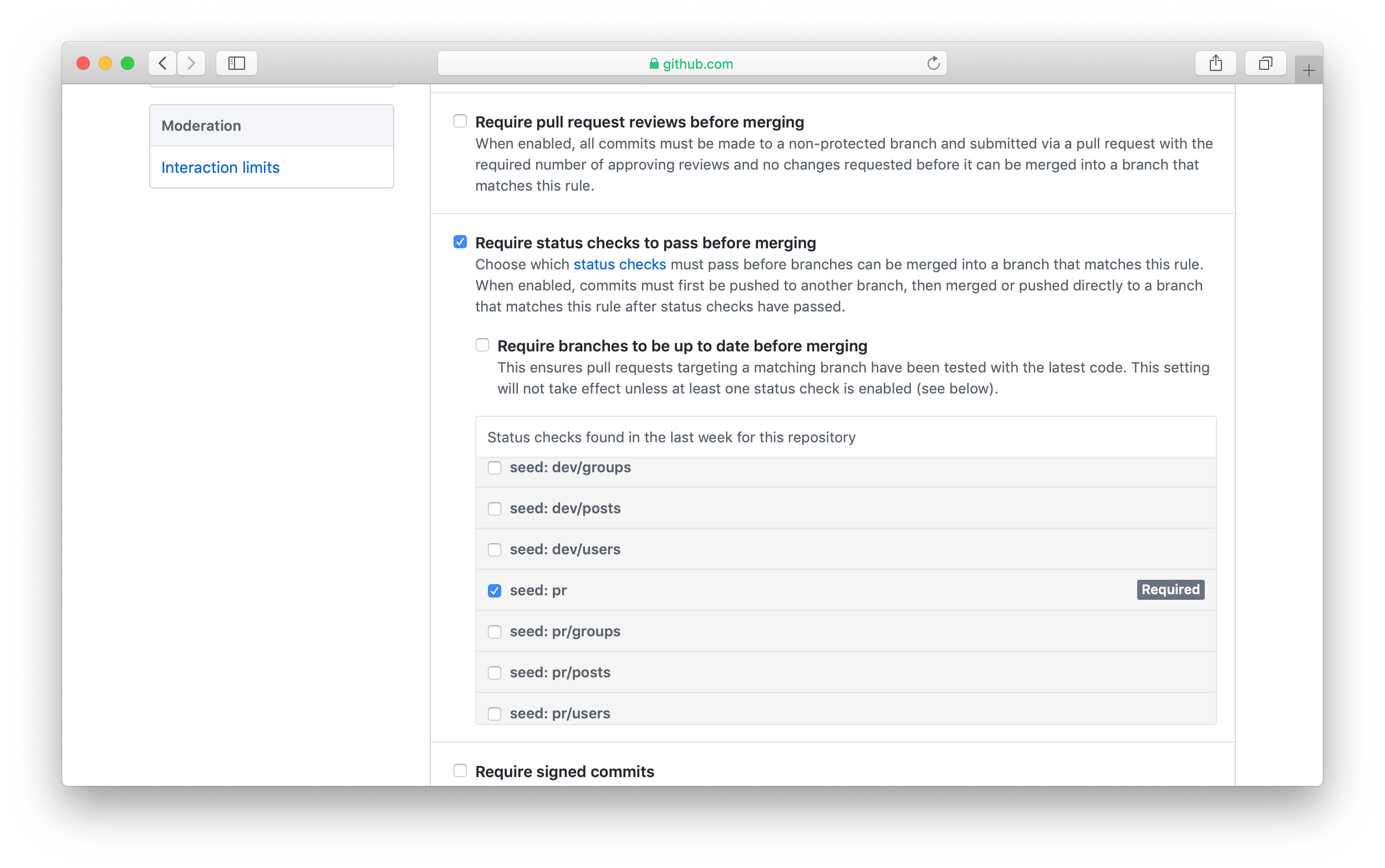 Seed branch protection status checks in GitHub