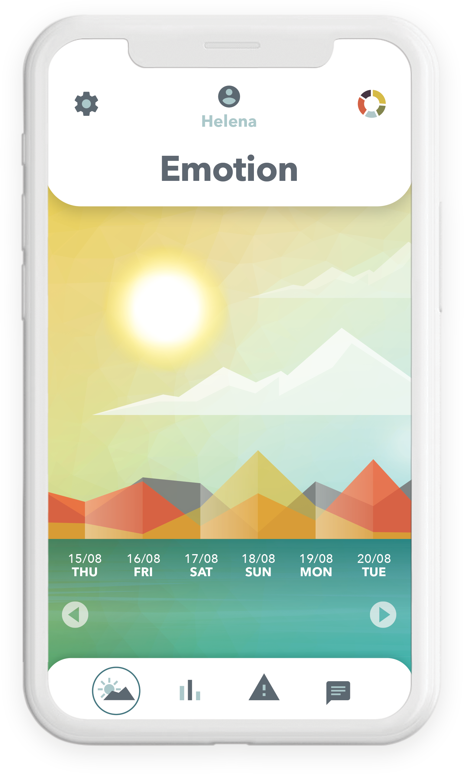App screen showing wings core emotions