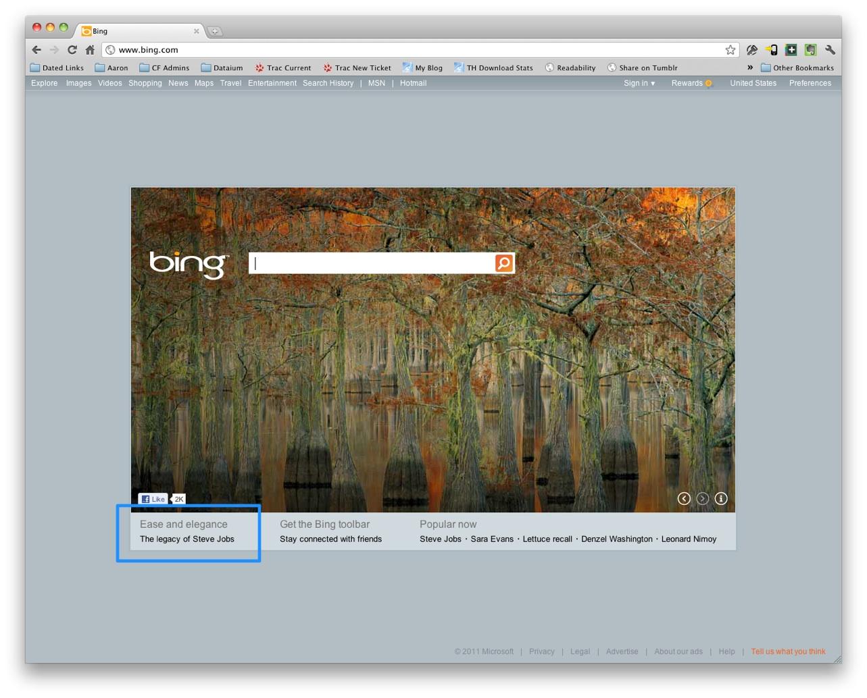 Bing tribute to Steve Jobs