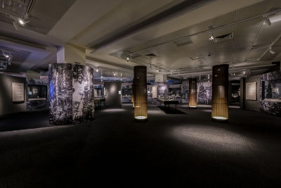 An overview of a gallery section, with old photographs wrapped around pillars. Brown cloth columns, lit up from the inside, resemble tree trunks as they decorate the section.