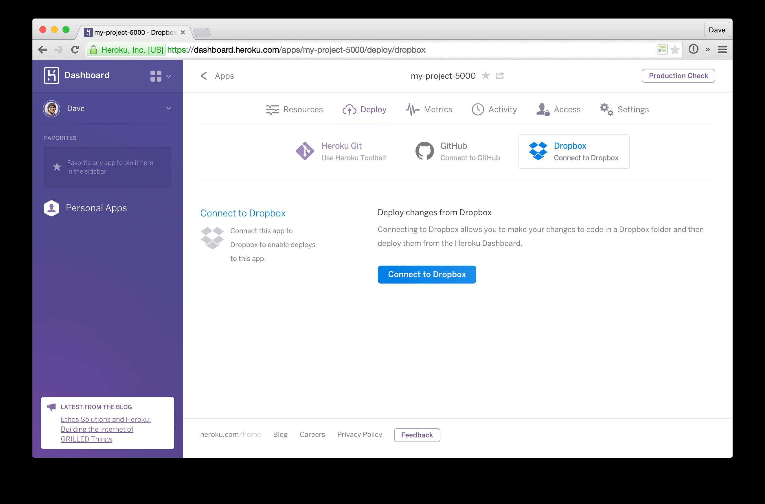 Screenshot of Heroku Dashboard