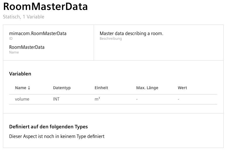 Configuration of the Static RoomMasterData Aspect
