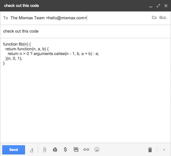 Unformatted code in email body