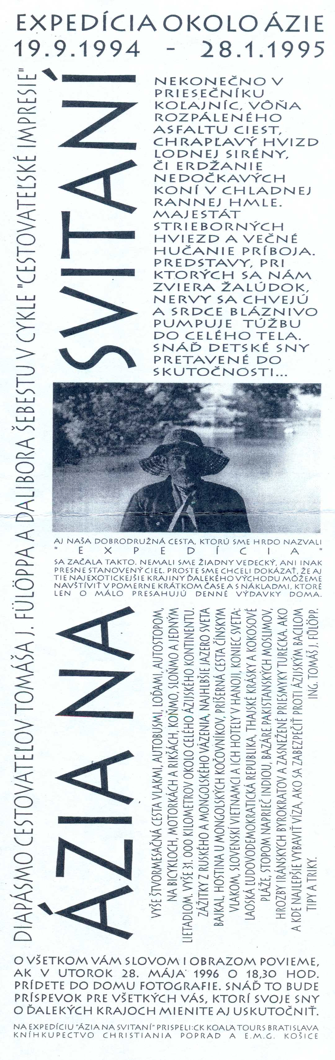 Pozvánka na diapásmo v Dome fotografie dňa 28. mája 1996